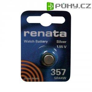 Knoflíková baterie na bázi oxidu stříbra Renata SR44, velikost 357, 160 mAh, 1,55 V
