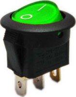 Vypínač kolébkový ON-OFF 1pol.250V/6A zelený s doutnavkou