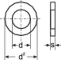Podložka plochá TOOLCRAFT A3,2 D125-A2 194694, Ø: 3,2 mm/7 mm, ušlechtilá ocel, 100 ks