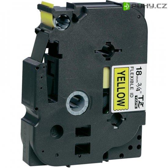Páska do štítkovače Brother TZe-FX641, 18 mm, TZe-FX, TZ-FX, 8 m, černá/žlutá - Kliknutím na obrázek zavřete