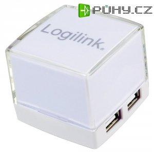 USB 2.0 hub LogiLink, 4-portový, osvětlený, bílý