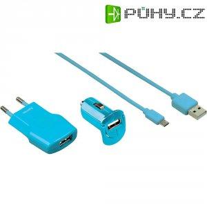 Sada USB nabíječek HAMA Picco, tyrkysová
