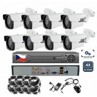 8CH 8MPx AHD kamerový set - 4K CCTV - DVR s LAN a 4x dome+bullet, mot. ZOOM, CZ menu, P2P, HDMI, IVA, H265+