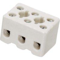 Porcelánová svorka Adels-Contact, 41 22 03, max. 2,5 mm², 3pólová, bílá