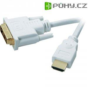 SpeaKa Professional HDMI, DVI kabel, zástrčka/zástrčka, 18+1pol., bílý, 3 m