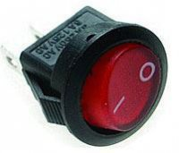 Vypínač kolébkový OFF-ON 1pol.250V/3A červený bez doutnavky