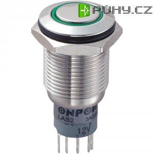 Tlačítkový spínač antivandal s aretací TRU COMPONENTS LAS2GQF-11ZE/G/12V/S/P, 250 V/AC, 3 A, nerezová ocel, 1x zap/zap, zelená