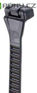 Stahovací rozepínací elastický pásek Panduit ERT2M-C20, 216 x 12,7 mm, černá
