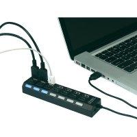USB 2.0 hub, 7-portový, přepínatelný