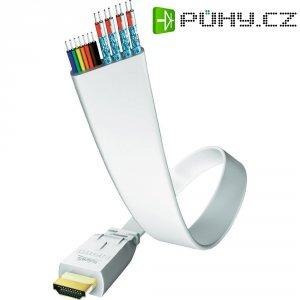 Plochý HDMI kabel s ethernetem, vidlice ⇒ vidlice, 5 m, bílý, Inakustik
