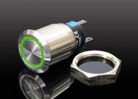 Tlačítko OFF-(ON) LA19-AJS 250V/5A, zelené prosvětlení