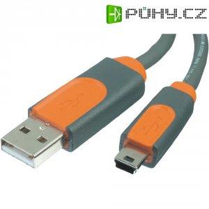USB 2.0 kabel, USB 2.0 zástrčka A ⇔ USB 2.0 zástrčka mini-B, šedá, 3 m
