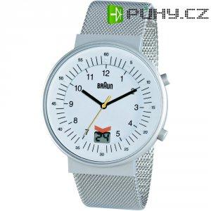 Ručičkové náramkové DCF hodinky Braun, bílá/stříbrná