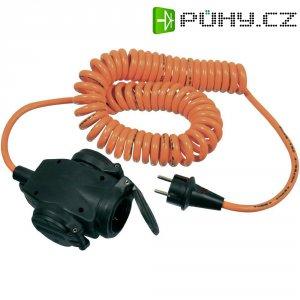Prodlužovací spirálový kabel AS Schwabe, 5 m, 3 zásuvky, oranžová