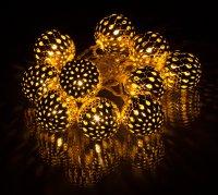 Dekorativní kovové LED koule 10 LED Metal Balls WW 1,5m zlaté RXL 51