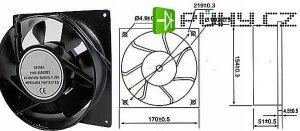 Ventilátor 170x170x51mm 230V/0,23A 2200 ot/min