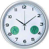 Analogové nástěnné DCF hodiny s měřením teploty