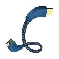 HDMI s ethernetem vidlice ⇒ vidlice, modré konektory 90°, 1 m, stříbrný, Inakustik
