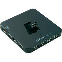 USB 2.0 hub s nabíječkou pro iPad, 13-portový, černý