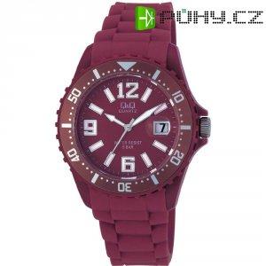 Ručičkové náramkové hodinky Carlton Quartz, silikonový pásek, vínová