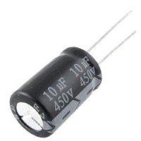 10u/450V 105° 16x25x7,5mm, elektrolyt.kondenzátor radiální