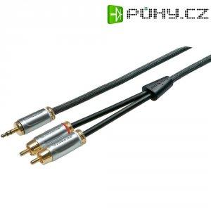 Špičkový kabel adaptéru PROWIRE 3,5 mm konektor jack na 2 x cinch 1,5 m