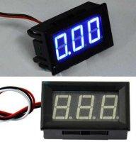 Voltmetr panelový LED modrý, 3-30V