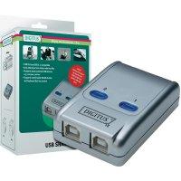 Přepínač Digitus, DA-70135-1, 2x USB 2.0, stříbrná