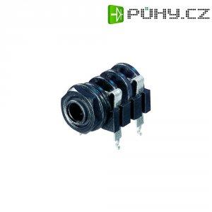 Jack konektor 6,35 mm mono Rean AV NYS 2192, zásuvka vestavná horizontální, 2pól., černá