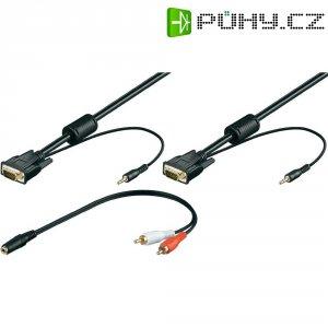 VGA, Cinch kabel, zástrčka/jack konektor 3,5 mm, černý, 15 m