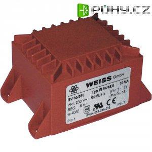 Transformátor do DPS Weiss Elektrotechnik EI 54, prim: 230 V, Sek: 2x 9 V, 889 mA, 16 VA