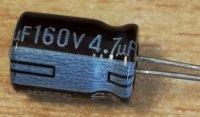 47u/160V 105° 8x12x3,5mm, elektrolyt.kondenzátor radiální