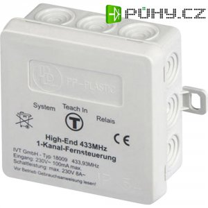 Bezdrátový přijímač, 18009, 1kanálový, 60 m, 433 MHz, 230 V/AC/8 A