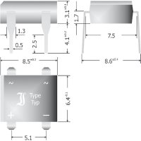 Křemíkový můstkový usměrňovač Diotec B380D, U(RRM) 800 V, 1 A, DIL (rastr 7,5x 5,1mm)