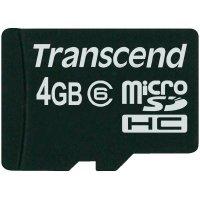 Paměťová karta microSDHC Transcend, 4 GB, třída 6, včetně SD adaptéru
