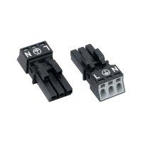 Síťová zásuvka Wago Winsta Mini, 250 V, 16 A, 3pólová, černá, 890-203