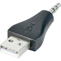 Adaptér USB 2.0, A/jack konektor 3,5 mm, černý