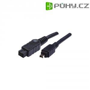 FireWire kabel, vidlice 9pól. (800) ⇔ vidlice 4pól. (400), černá, 1,8 m