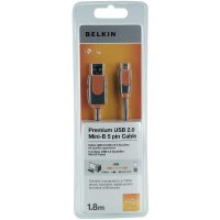 USB 2.0 kabel, USB 2.0 zástrčka A ⇔ USB 2.0 zástrčka mini-B, šedá, 1,8 m
