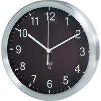 Analogové DCF nástěnné hodiny TFA 98.1091.08, Ø 25 x 4 cm, hliník, hnědá