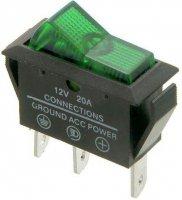 Vypínač kolébkový OFF-ON 1pol.12V/20A,zelený