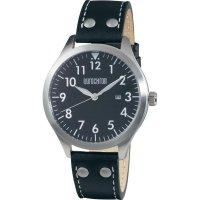 Ručičkové náramkové hodinky Eurochron Pilot F11 Quartz, kožený pásek, černá