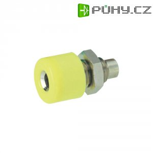 Laboratorní konektor Ø 2,6 mm, zásuvka vest. vertikální, žlutá