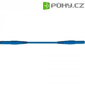 Měřicí silikonový kabel banánek 4 mm ⇔ banánek 4 mm MultiContact XMF-419, 0,5 m, modrá