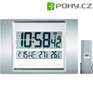 Digitální nástěnné DCF hodiny s vnitřní a venkovní teplotou, 290 x 209 x 29 mm