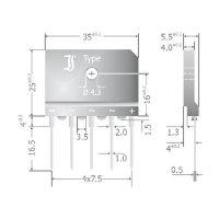 Můstkový usměrňovač 25 A 3fázový Diotec DBI25-12A, U(RRM) 1200 V, 25 A