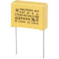 Odrušovací kondenzátor MKP-X2 TRU COMPONENTS MKP-X2 radiální, 0.47 µF, 275 V/AC,10 %, 22.5 mm, (d x š x v) 26.5 x 10 x 19 mm, 1 ks
