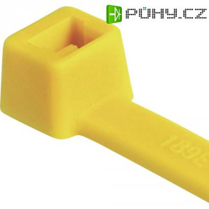 Stahovací pásky HellermannTyton T18R-PA66-YE-C1 116-01814, 100 mm, PA66, žlutá, 100 ks