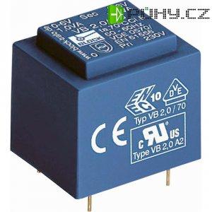 Transformátor do DPS Block EI 30/10,5, 230 V/2x 15 V, 2x 33 mA, 1 VA