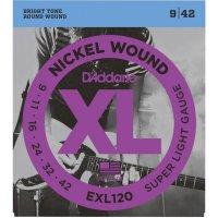 Kovové struny na elektrickou kytaru D´Addario EXL 120, 009 - 042